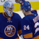New York Islanders Scott Mayfield and Thomas Greiss