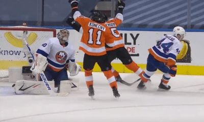 New York Islanders lament a goal scored by the Philadelphia Flyers