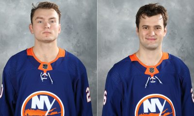 New York Islanders Kieffer Bellows and Oliver Wahlstrom