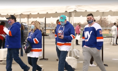 New York Islanders frontline worker fans enter the Nassau Coliseum