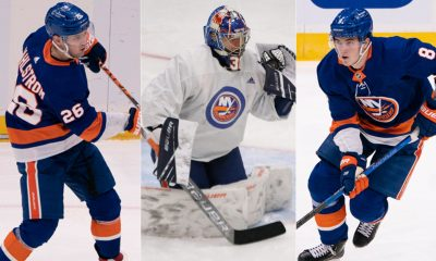 New York Islanders Oliver Wahlstrom, Ilya Sorokin, Noah Dobson