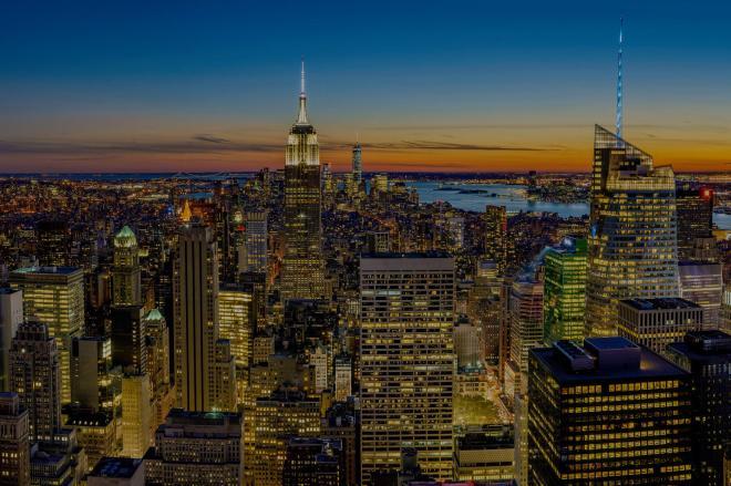 nighttime new york skyline