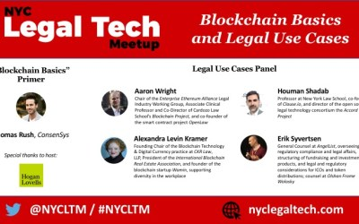 """Final Line-up:  """"Blockchain Basics and Legal Use Cases"""" (11/7)"""