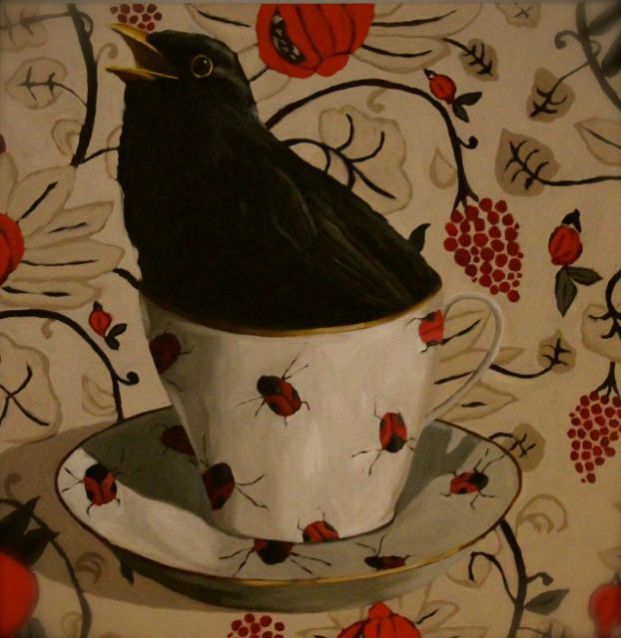 blackbird in a cup painting