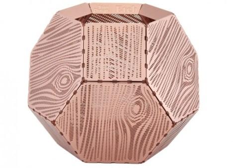 etch wood copper tea light holder
