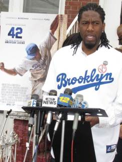 Council Member Juamaane Williams outside Jackie Robinson Tilden Avenue home.  Photo Credit: Keith Dawson/NYC Council.