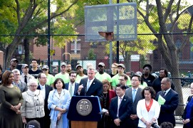 Mayor announces Community Parks Initiative. Image Credit: Mayor's Office.