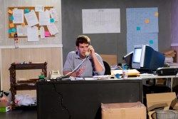 "In ""The Believers"", Chris Connor (Taylor Anthony Miller) begins a long day at the campaign office. (Image Credit: The Storm Theatre Company)"