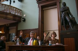 City Planning Chairman Carl Weisbrod and HPD Commissioner Vicki Been are sworn in before the Council's oversight hearing.  Image credit: William Alatriste, New York City Council