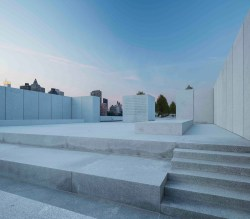 """Four Freedoms Park on Roosevelt Island was named for President Franklin D. Roosevelt's """"Four Freedoms"""" speech, engraved in the center block.  Image credit:  Paul Warchol/Four Freedoms Park Conservancy"""