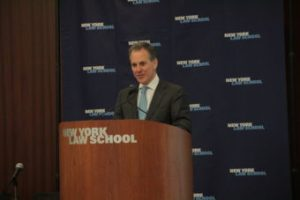 New York Attorney General Eric Schneiderman speaking at New York Law School, March 18, 2014. Image credit: New York Law School