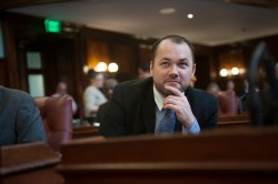 Councilmember Corey Johnson at a Stated Meeting of the New York City Council.  Image credit:  William Alatriste/New York City Council