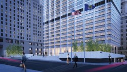 Architect rendering of the restored parapet to Chase Manhattan Plaza. Image credit: Fosun