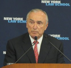 Former Commissioner Bratton speaking at a CityLaw Breakfast.