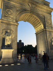Washington Square Arch at dusk