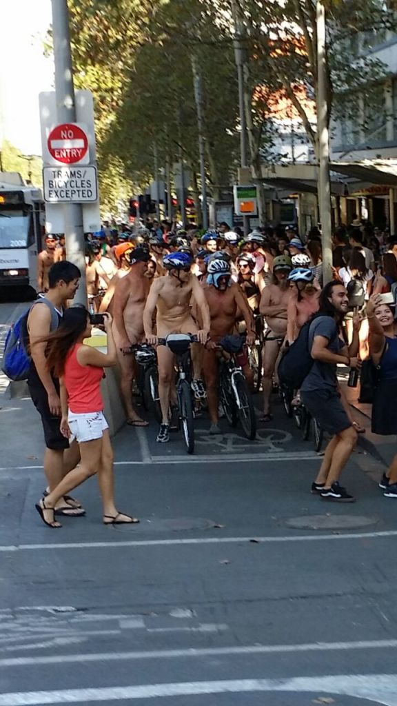 cyclists, nude, Melbourne,