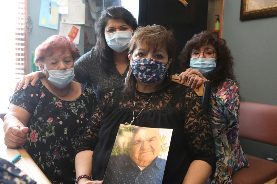 Family members of Saul Sanchez, from left, wife Carolina Sanchez, and daughter Estela Hernanez, Beatriz Rangel and Patty Rangelin Greeley