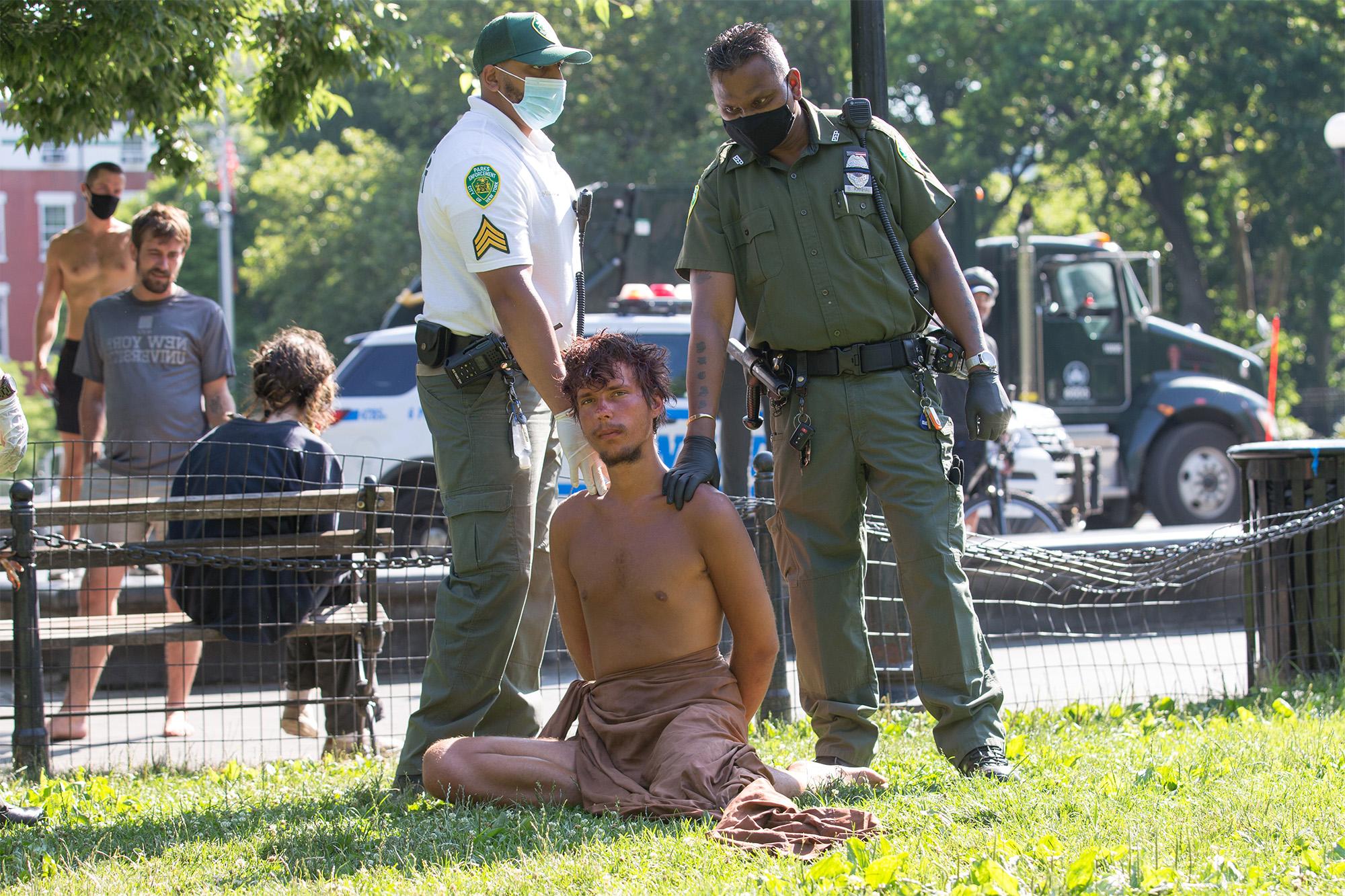 Washington Square Parks squatting Jesus arrested after