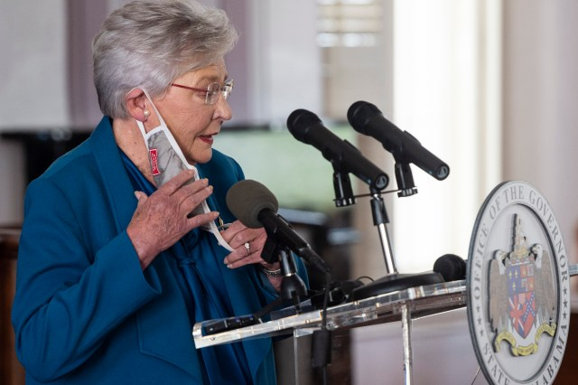 Gov. Kay Ivey speaks during a news conference update on COVID-19 restrictions at the Alabama State Capitol in Montgomery, Alabama.