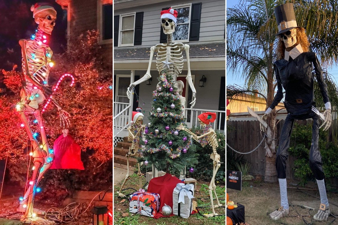 Huge Home Depot skeleton repurposed for Thanksgiving, Christmas displays 1
