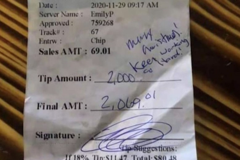 A waitress in Texas received a $2,000 tip but was told she couldn't keep it.
