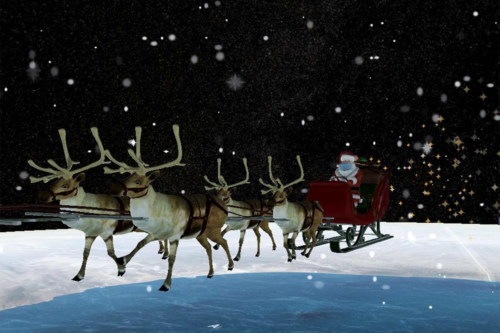 2020 Santa tracker is being COVID-safe, sporting mask
