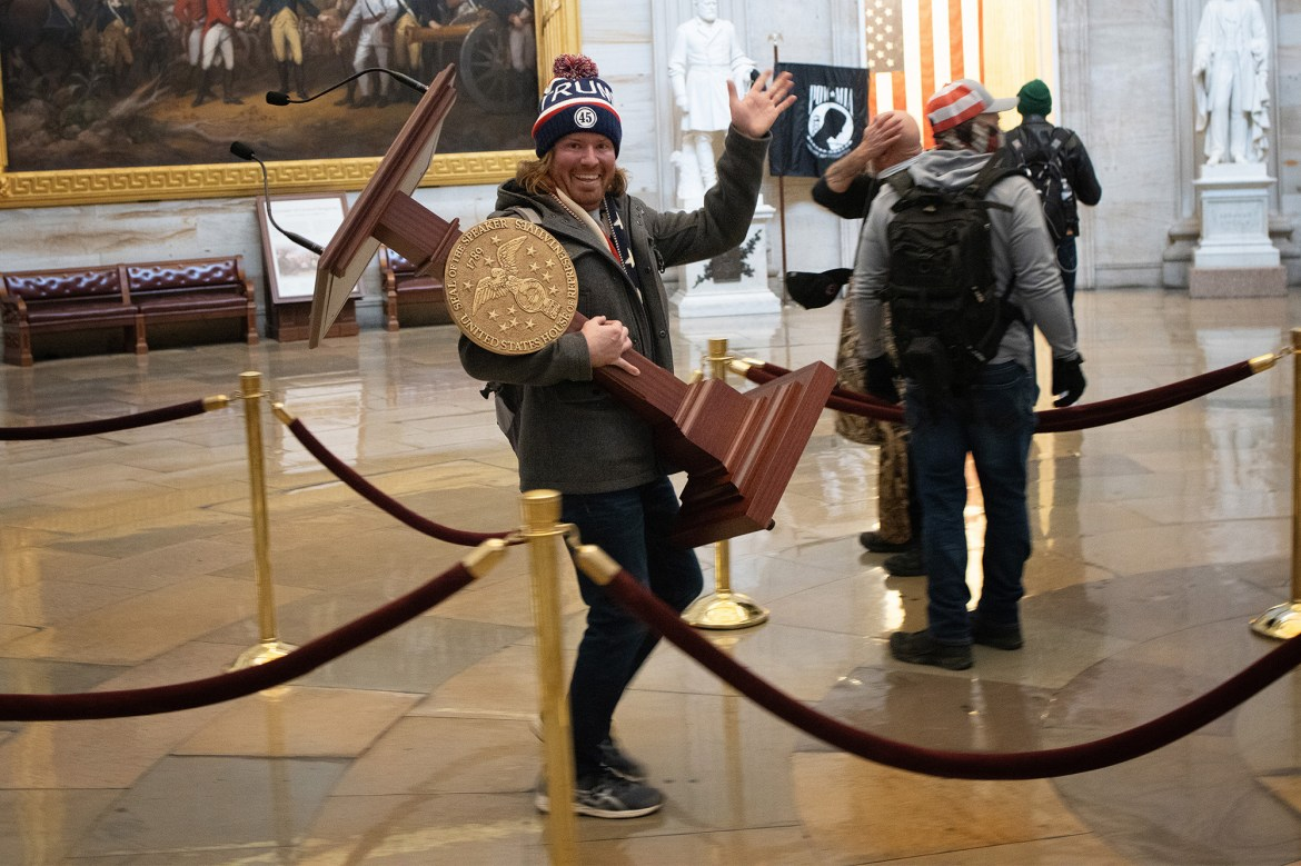 Amazing admission from lawyer of rioter accused of toting around Pelosi lectern 1