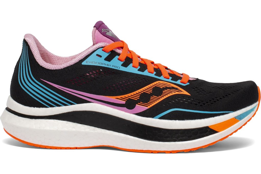 A black sneaker with neon colors