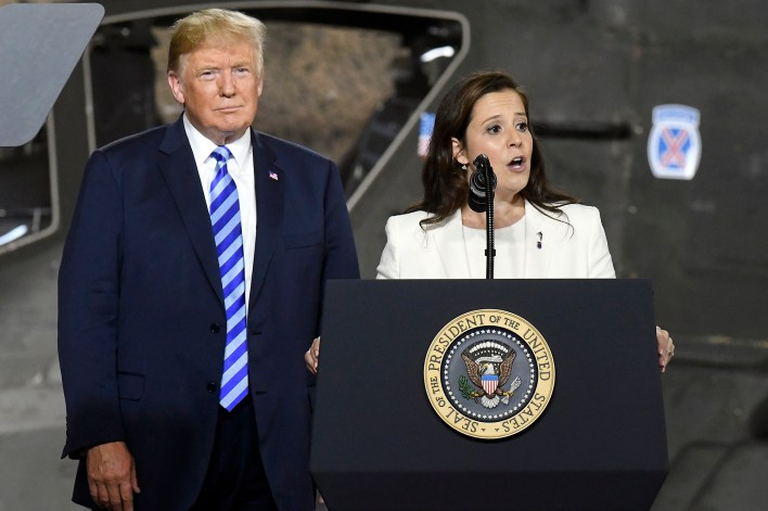 Former President Trump is pushing for Rep. Elise Stefanik to replace Liz Cheney as House Republican Conference Chair.