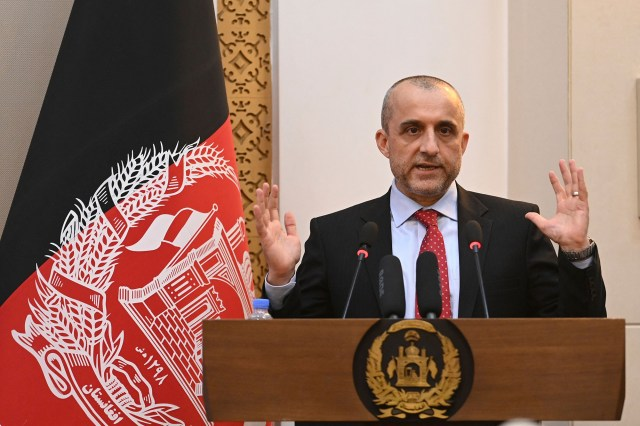 Vice President of Afghanistan Amrullah Saleh speaks during a function at the Afghan presidential palace in Kabul on August 4, 2021.
