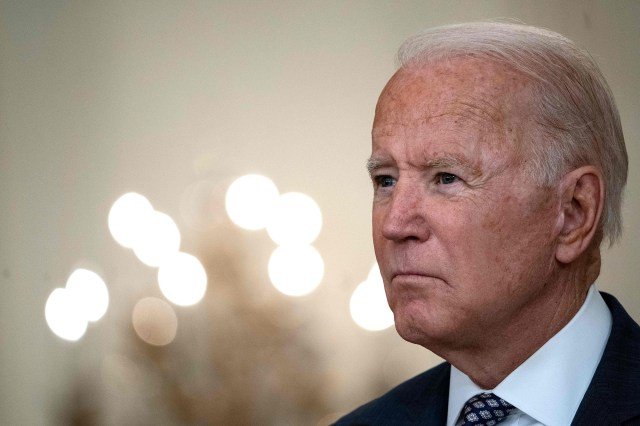 President Joe Biden responds to questions about the ongoing US military evacuations of US citizens and vulnerable Afghans in the White House on August 20, 2021.