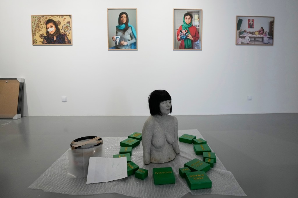 Some exhibits are laid out in rooms at the Ujazdowski Castle Center for Contemporary Art in Warsaw, Poland, Wednesday Aug. 25, 2021.