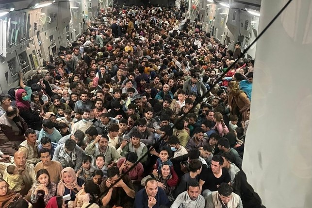 The US Air Force C17 Globemaster III flew hundreds of people from Kabul to Qatar on August 15, 2021.
