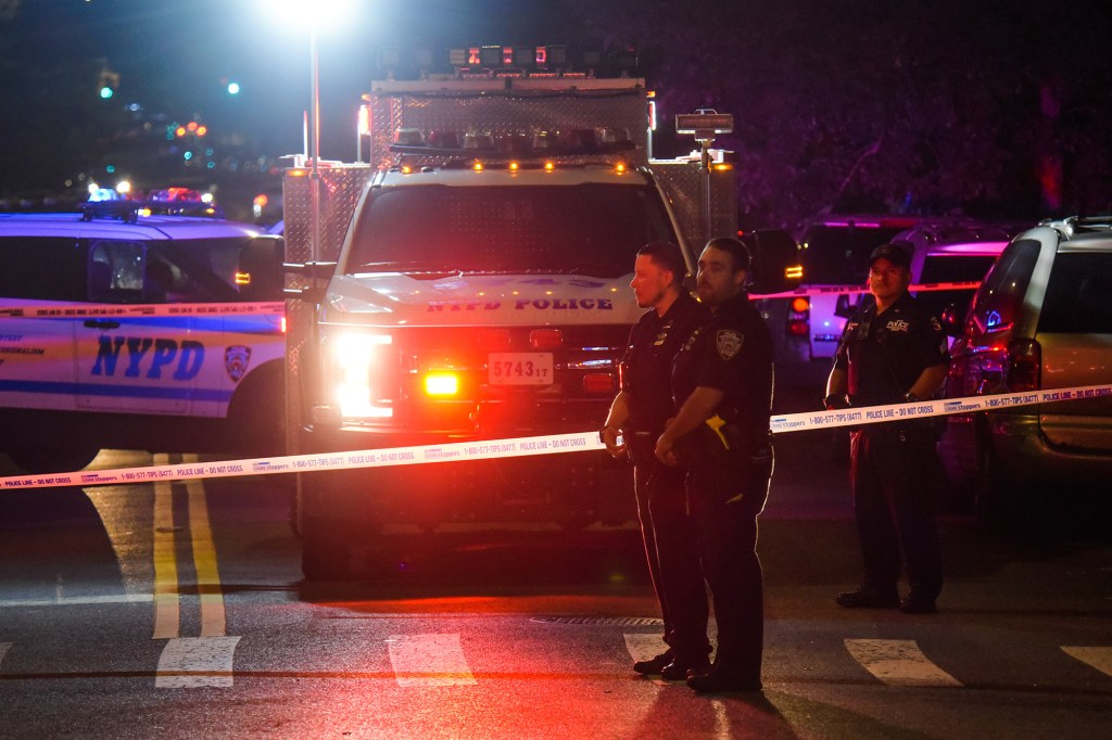 Emergency vehicles at the scene of a shooting in the Bronx.