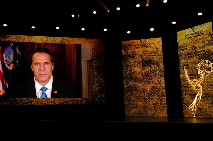 Andrew Cuomo on screen accepting an Emmy.