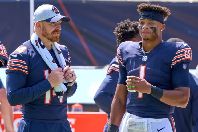 Andy Dalton and Justin Fields during the Bears Pre-Season Game against the Dolphins on August 14, 2021.