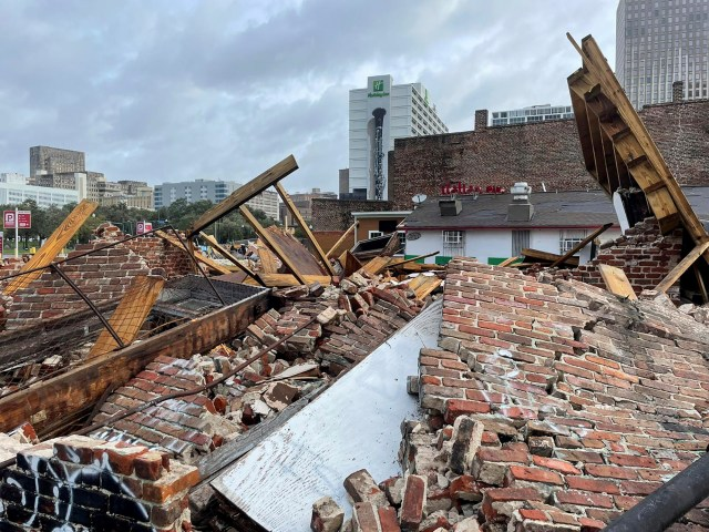 The Karofsky shop suffers severe damage after Hurricane Ida arrived on the Gulf Coast on August 29, 2021.