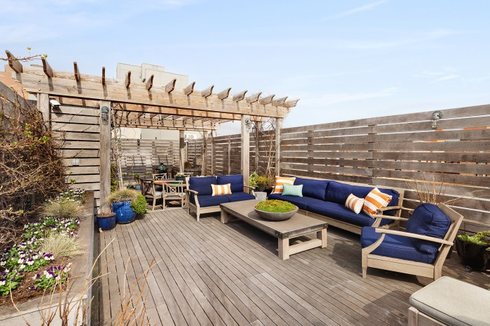 Outside, the home has 2,000 square feet of terraces, gardens and decks with a Jacuzzi, a pergola and a barbecue.