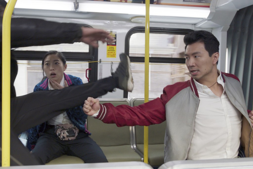 Shang-Chi's true identity is revealed during an exhilarating fight on a San Francisco bus.