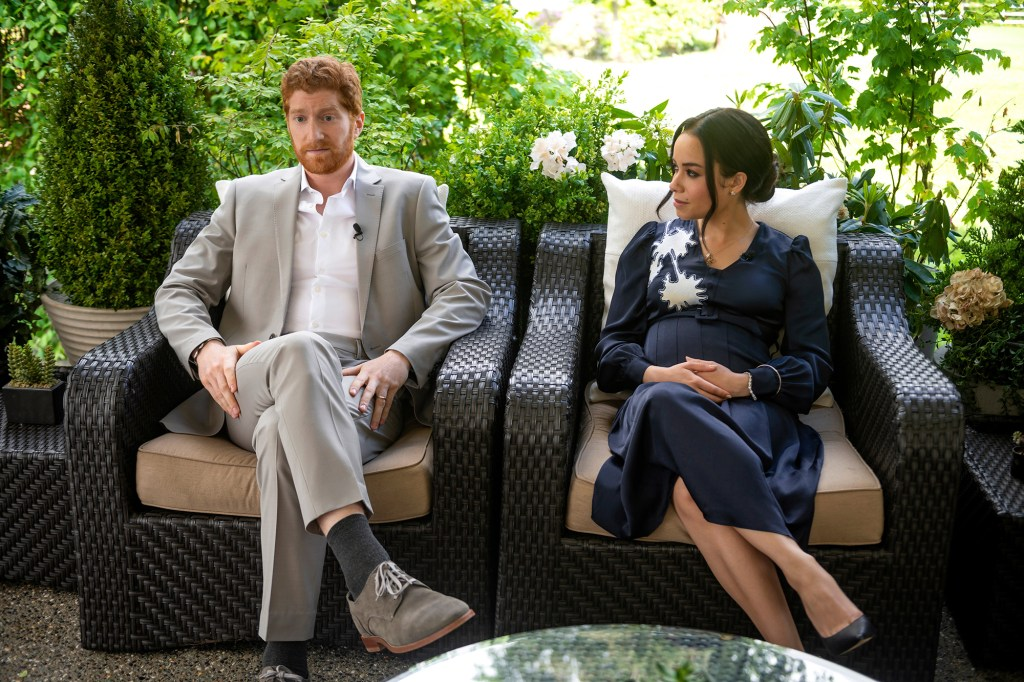 Photo showing Harry and Meghan in a scene dramatizing their blockbuster interview with Oprah Winfrey.