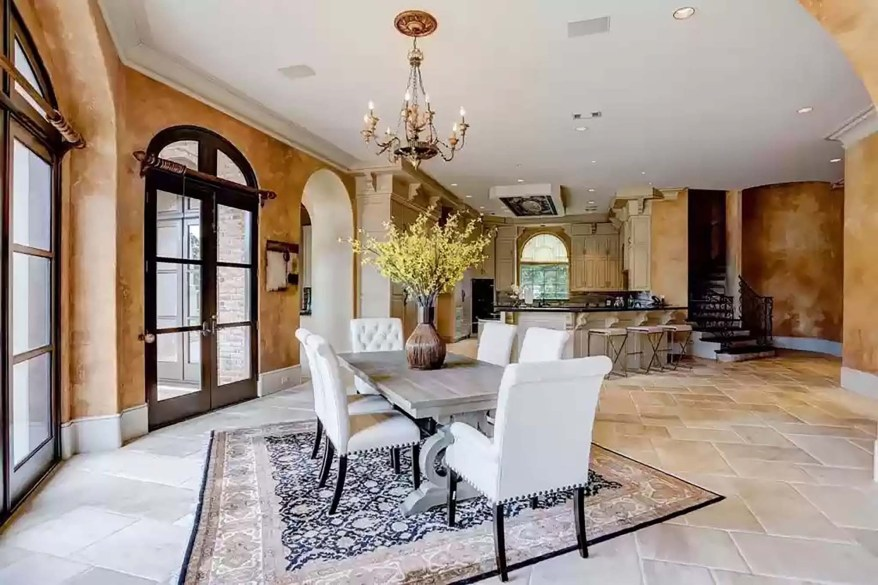 The family room connects to a relaxed dining area.