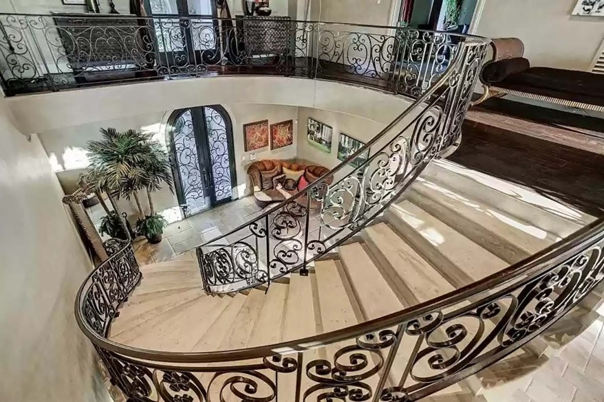 The foyer is pictured from the second floor.