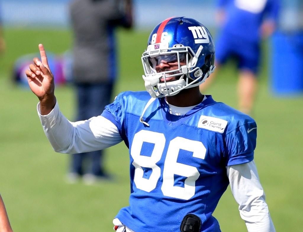 Giants wide receiver Darius Slayton looks on during practice in East Rutherford, N.J.