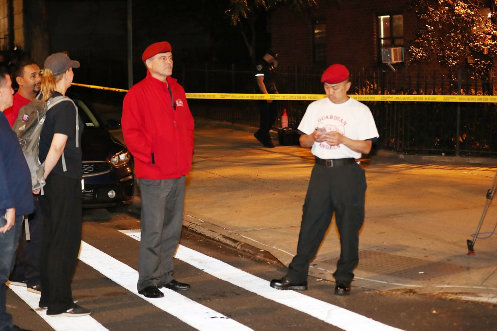 Mayoral candidate Curtis Sliwa at the scene of a double shooting at 189 W. 89th Street.