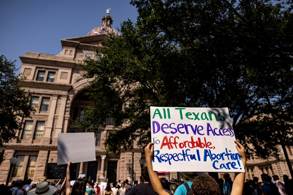 Abortion rights activists rally at the Texas State Capitol on September 11, 2021