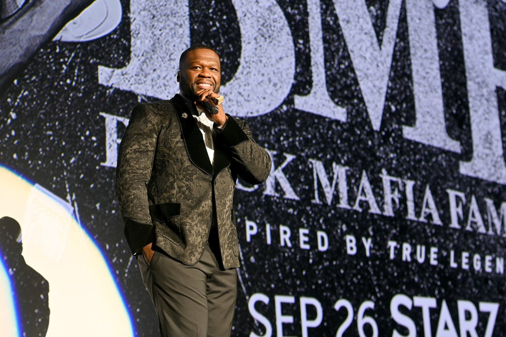 50 Cent speaks onstage during the BMF world premiere screening and concert  at Cellairis Amphitheatre at Lakewood on September 23, 2021 in Atlanta, Georgia.