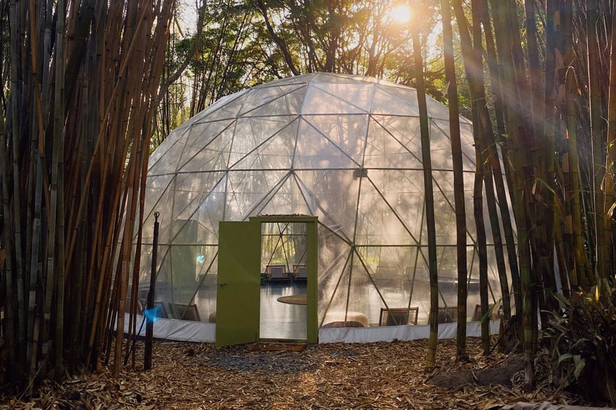 The yoga dome appears to have been altered or recreated for the show.