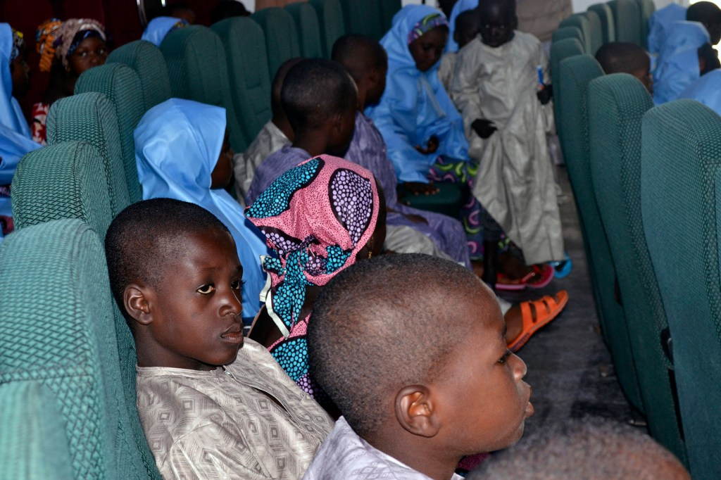 some freed students of the Salihu Tanko Islamic School, before a meeting with Niger state governor in Minna, Nigeria.