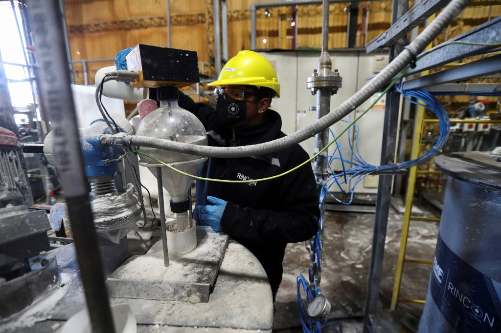 An employee works at the Rincon Mining lithium pilot plant, at the Salar del Rincon salt flat, in Salta, Argentina August 12, 2021.
