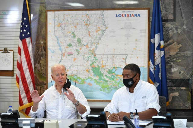 President Joe Biden holds a briefing with local leaders on the impact of Hurricane Ida at the St. John Parish's Emergency Operations Center in LaPlace, Louisiana on September 3, 2021.